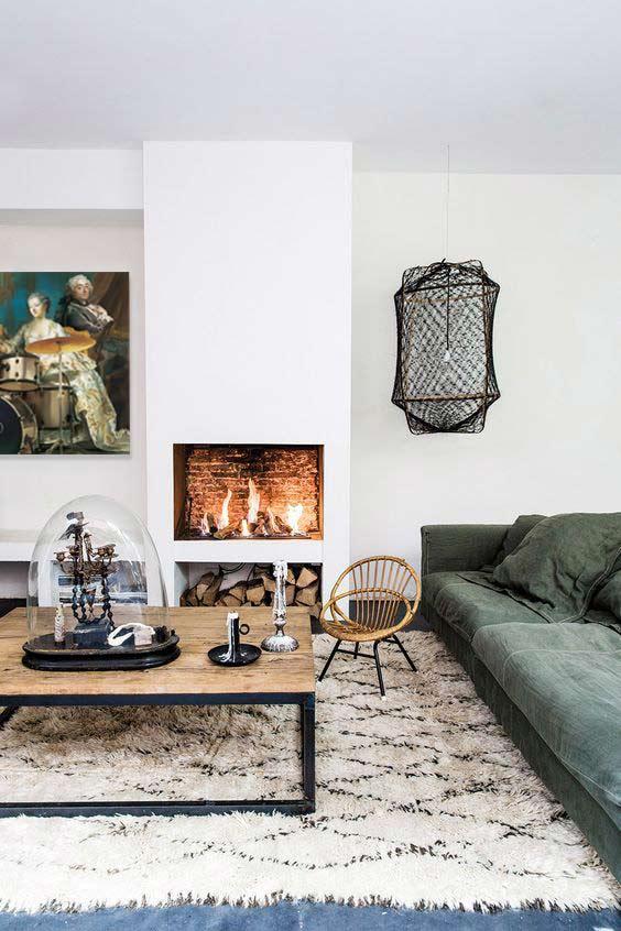 déco salon cocooning avec tapis et tableau moderne