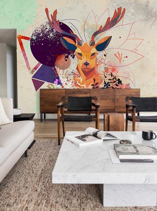 déco-salon-japandi-papier-peint-scandinave-cerf-izoa