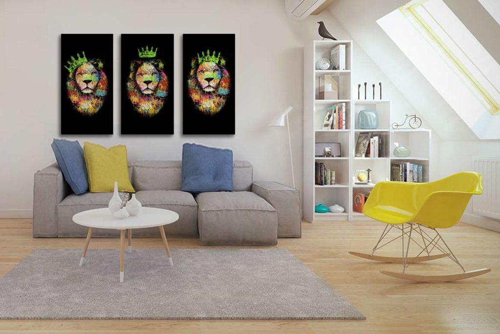 décoration murale moderne triptyque lion vert