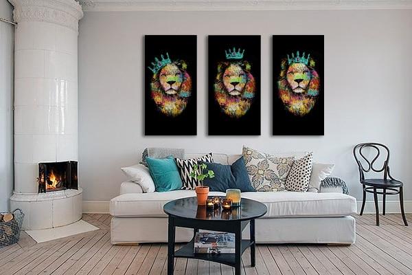 décoration salon originale tableaux lion bleu ciel