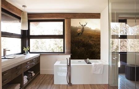 Déco salle de bain papier peint cerf