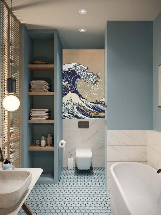 papier peint salle de bain bleu