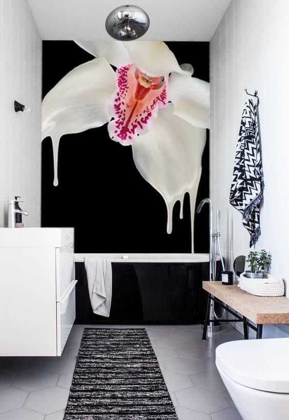 papier peint salle de bain design noir et blanc