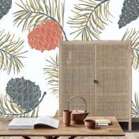 papier-peint-scandinave-pomme-de-pins-izoa