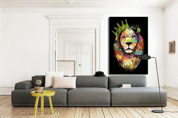 tableau salon moderne lion vert