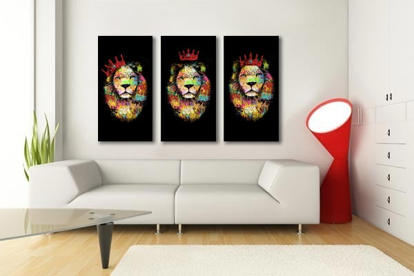 tableau multi panneaux lion tag coloré rouge