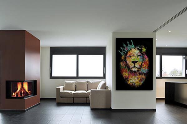 tableau portrait lion bleu ciel