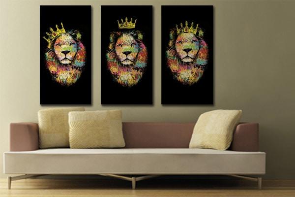 tableau triptyque lion izoa jaune