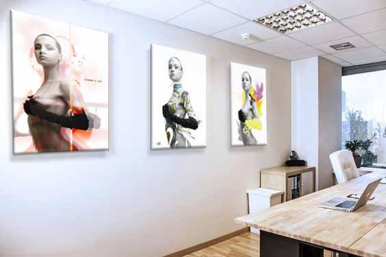 tableaux femme multi panneaux décoration bureaux