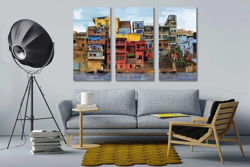tableau multi panneaux paysage coloré Izoa