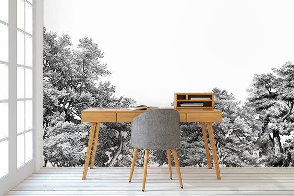 décoration-bureau-style-scandinave-tapisserie-foret-noir-et-blanc