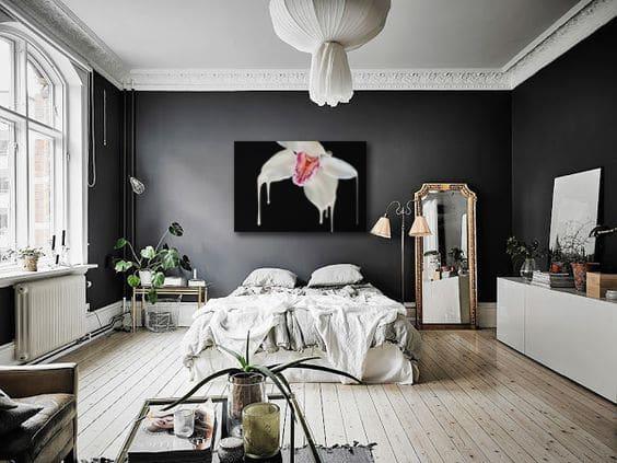 décoration chambre moderne mur gris tableau orchidée izoa