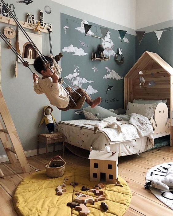 décoration murale chambre enfant mur foncé
