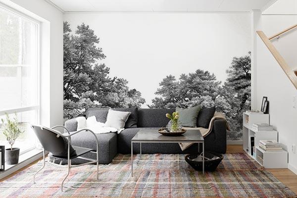 Decoration Salon Noir Et Blanc Papier Peint Foret