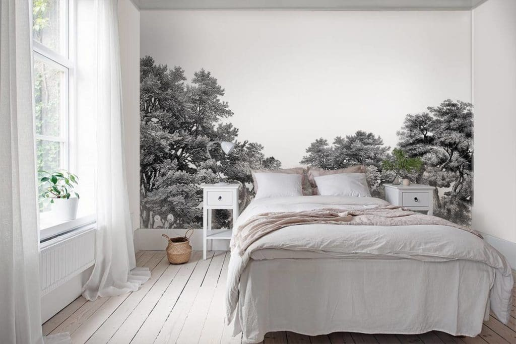 décoration chambre adulte papier peint foret noir et blanc
