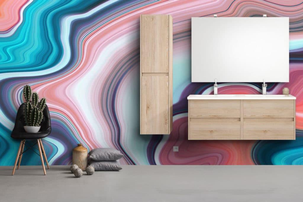 papier peint salle de bain effet marbré