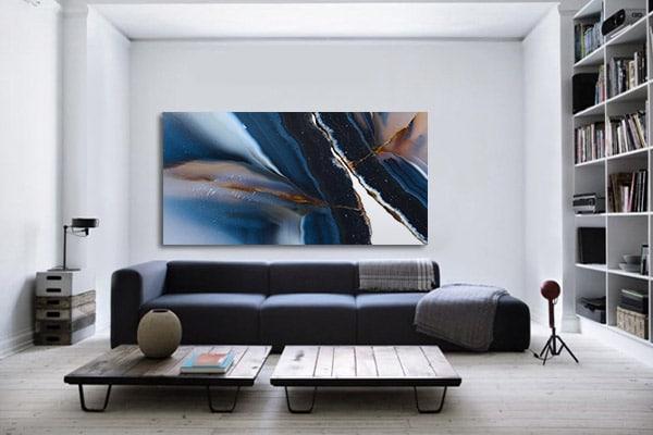 tableau bleu effet marbré Izoa