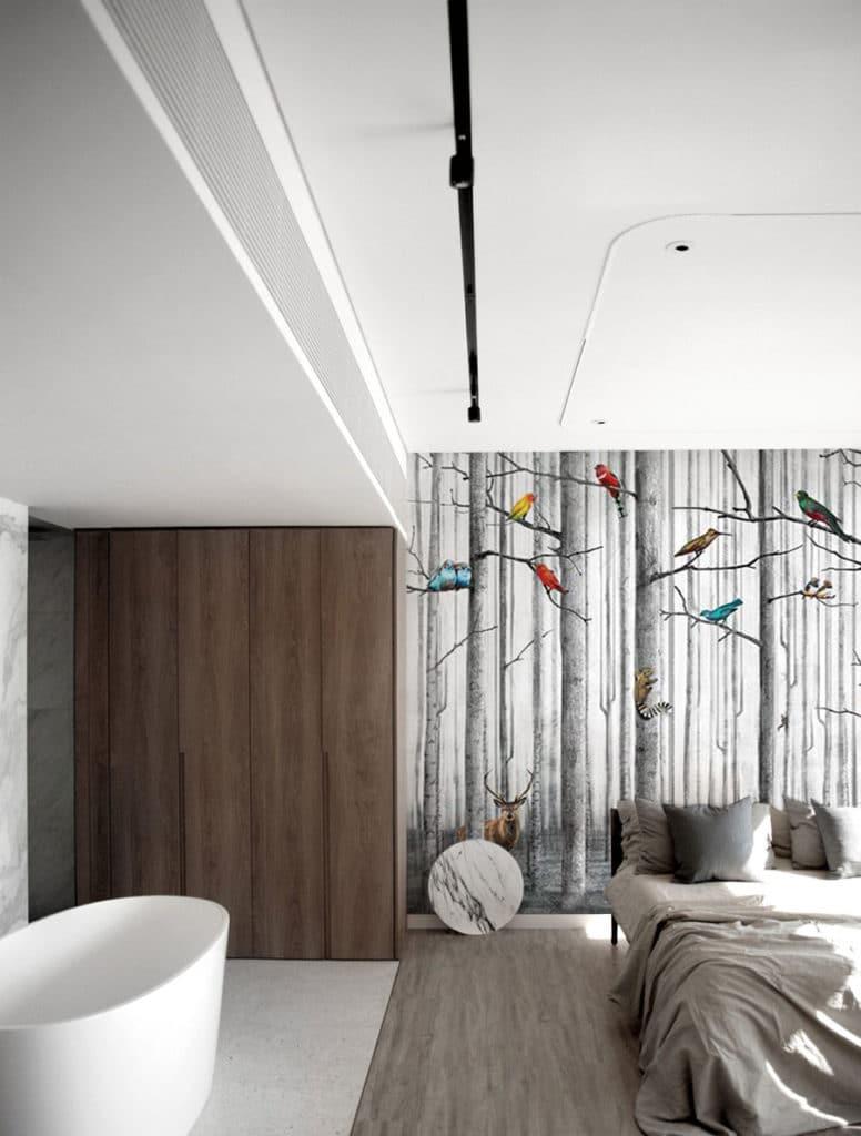 papier peint panoramique chambre foret noir et blanc